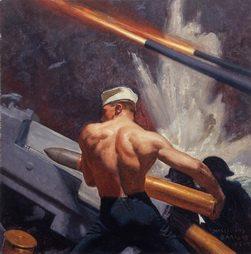 """Gun Crew Loading a 5 """"38 cal. Gun"""" by McClelland Barclay"""